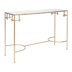 Worlds Away Gold Leaf Console Table with White Marble Top MARCY GW