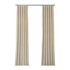 "Heritage Plush Velvet Single Curtain, Single Panel, Macchiato Beige, 50""x108"""