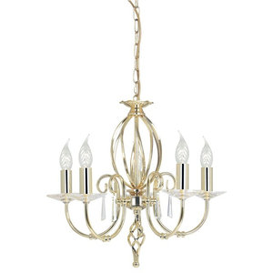 5-Arm Chandelier With Hand Forged Scrolls, Polished Brass