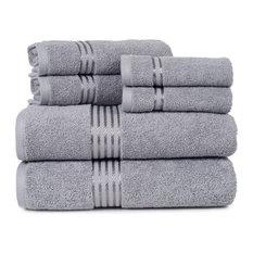 lavish home cotton hotel 6piece towel set silver bath towels
