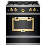 Big Chill - Classic Stove, Matte Black With Brushed Brass Trim - Industrial Style, American by Design