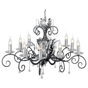 Traditional Black-Silver 10-Arm Chandelier With Forged Scrolls