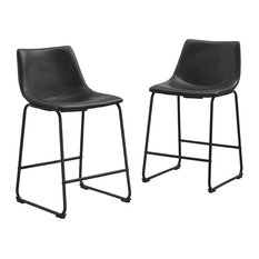 Black Faux Leather Counter Stools Set Of 2