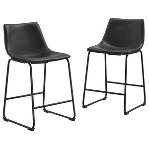 Outstanding 26 Faux Leather Counter Stools In Brown Set Of 2 Customarchery Wood Chair Design Ideas Customarcherynet