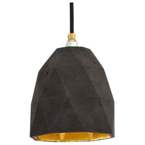T1 Triangle Pendant Light, Charcoal/Gold