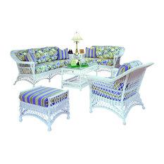 Bar Harbor 6-Piece Living Room Furniture Set White Siesta Pompeii Fabric