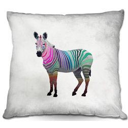 New Asian Decorative Pillows DiaNoche Throw Pillows Rainbow Zebra White