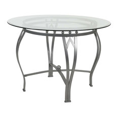 glass dining table designer casa furnish store round 42inch clear tempered glass dining table with silver frame 42 tables houzz