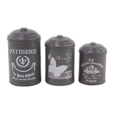 Cylindrical Tin Canisters with Lid, Set of 3