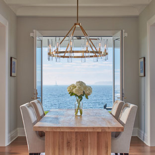 Example of a beach style light wood floor and brown floor dining room design in DC Metro with gray walls