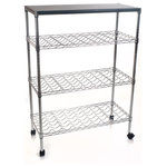 Lavish Home - Rolling Chrome Wine Rack Cart Portable Bar - Form and function collide in this 4 Tier Chrome Wine Rack from Lavish Home.