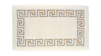 Meander Bath Mat, Jasmine White and Lurex Gold, 70x130 cm