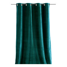 En Fil d'Indienne - Lyric Velvet Curtain, Turquoise - Shower Curtains