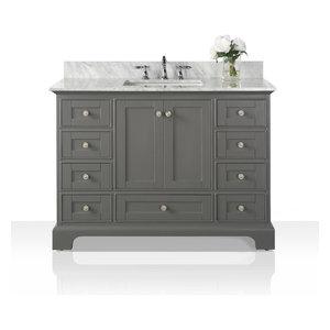 "Audrey Vanity Set, Sapphire Gray, 48"", Brushed Nickle Hardware, Carrara White Ma"