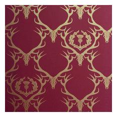 Barneby Gates - Deer Damask Wallpaper, Gold on Claret - Wallpaper