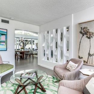 Idee per un piccolo soggiorno moderno con pareti bianche, pavimento in sughero, nessun camino, TV a parete e pavimento grigio
