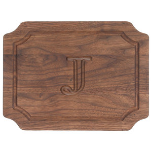 BigWood Boards Scalloped Monogram Walnut Cheese Board, J