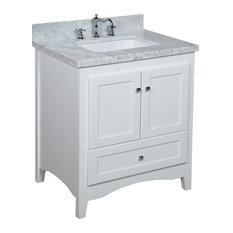 Kitchen Bath Collection Abbey Bath Vanity White Carrara Marble Top 30