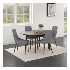Alero/Cora 5-Piece Dining Set Walnut Table/Grey Chair