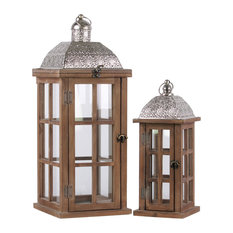 Erthart Wood Lanterns in Silver and Brown, 2-Piece Set