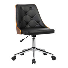 Armen Living   Diamond Chrome Mid Century Office Chair With Walnut Veneer  Back, Black