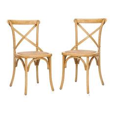 Safavieh   Safavieh Franklin X Back Chairs, Set Of 2, Weathered Oak
