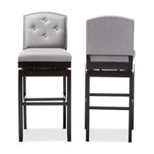 Ginaro Button-Tufted Upholstered Swivel Bar Stools, Set of 2, Gray Fabric