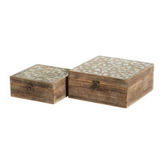Decorative Wood Boxes With Carved Trellis Designs, Set of 2