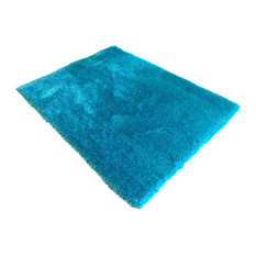Hand Carved and Hand Tufted Indoor Area Rug, Solid Turquoise, 5'x7'