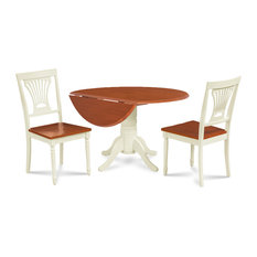 Dining Room Table Set With Drop Leaves Two Tone Buttermilk/Cherry Finish