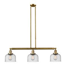 Large Bell 3-Light LED Island Light, Brushed Brass, Glass: Seedy
