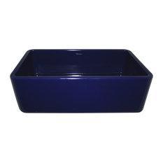 Whitehaus WH3618-BLUE Single Bowl Fireclay Farmhouse Apron Kitchen Sink In Blue