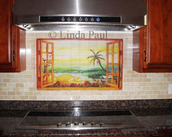 kitchen backsplash murals, mosaic medallions and accent tiles