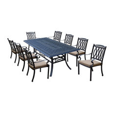 9-Pc Modern Outdoor Dining Set in Antique Black