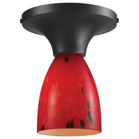 Celina 1-Light Semi-Flush in Dark Rust and Fire Red Glass