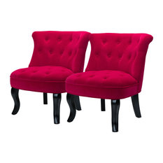 Upholstered Accent Chair with Tufted Back,Set of 2, Red