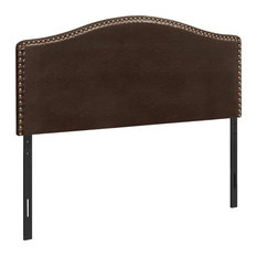 Monarch Queen Faux Leather Nailhead Trim Upholstered Panel Headboard In Brown