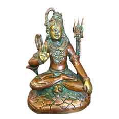 Mogul Interior - Seated Shiva Statue Brass Idol Religious Sculpture Indian Art Hinduism Gifts - Decorative Objects And Figurines