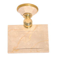 Soap Dish With Botticino Marble Accents, Polished Gold