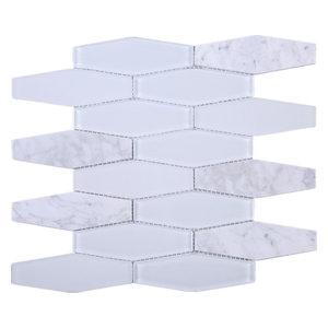 "12""x12.5"" Vienna Mixed Mosaic Tile Sheet, White"
