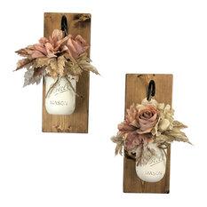 Swiss Coffee Rose Mason Jar Wall Sconces Floral Arrangements, Set of 2