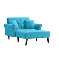 Sofamania - Modern Velvet Fabric Recliner Sleeper Chaise Lounge, Futon Sleeper Chair - Indoor Chaise Lounge Chairs