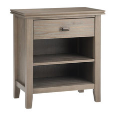 Artisan Solid Wood Bedside Table, Distressed Gray
