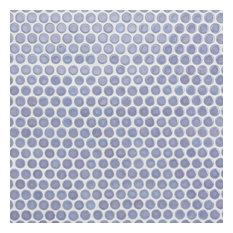 "SomerTile 12""x12.63"" Penny Porcelain Mosaic Tile, Case of 10, Lavender"