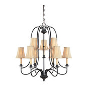 World Imports WI3749 Nine Light Chandelier from the Hastings Collection, Aged Eb