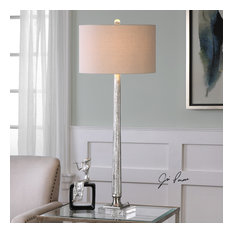 Uttermost Fiona Ribbed Mercury Glass Lamp, Brushed Nickel