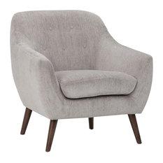 "Brennley 32"" Wide Mid Century Modern Armchair, Dove Gray Chenille Look Fabric"