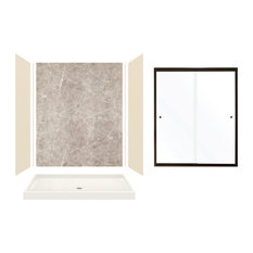 """Expressions Alcove Shower Kit With Door, Bisque/Dover Stone, 60""""x32""""x72"""", Deep B"""