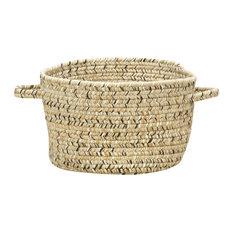 "Sea Pottery Braided Basket, Sandy Beach, 12""x12""x7.5"""