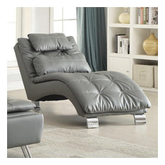 Coaster Padded and Upholstered Chaise With Metal Legs